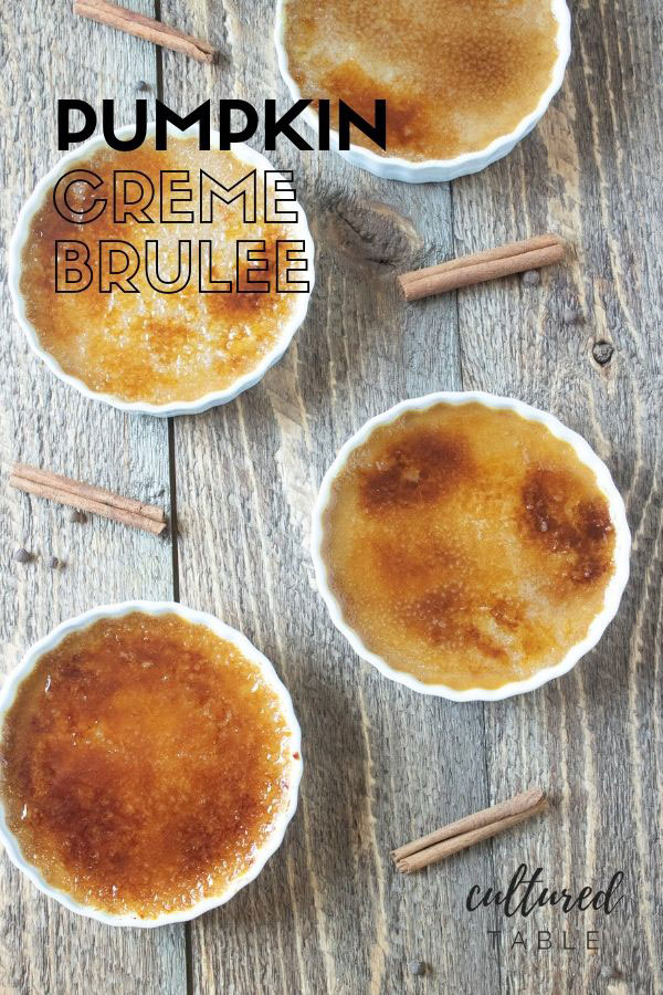pumpkin creme brulee in white dishes from above