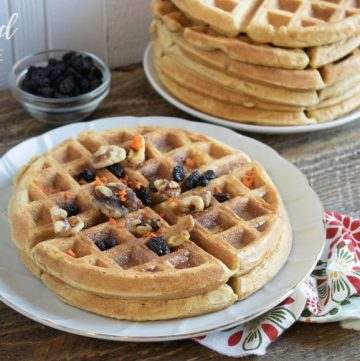 carrot cake waffles on a white plate