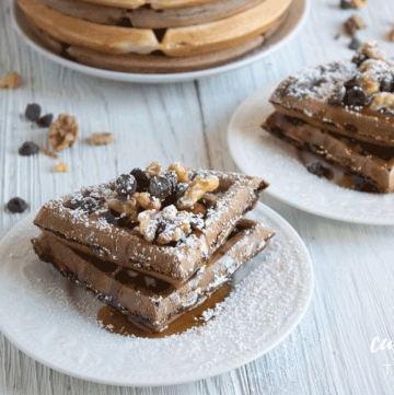 chocolate chip waffles on a white plate