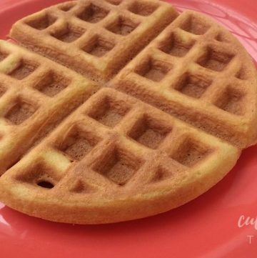 coconut flour waffle on a salmon colored plate