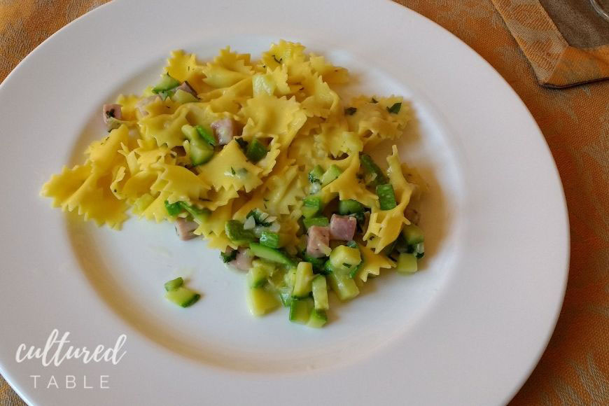 homemade pasta with ham and zucchini