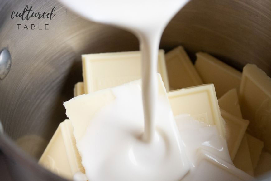 white chocolate squares and whipping cream in a pot