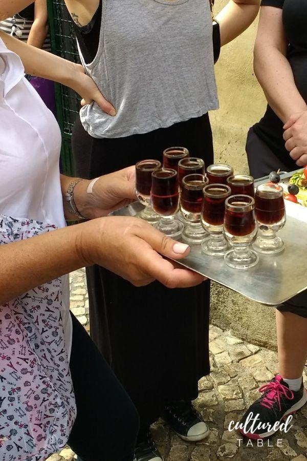 Ginjinha in small glasses