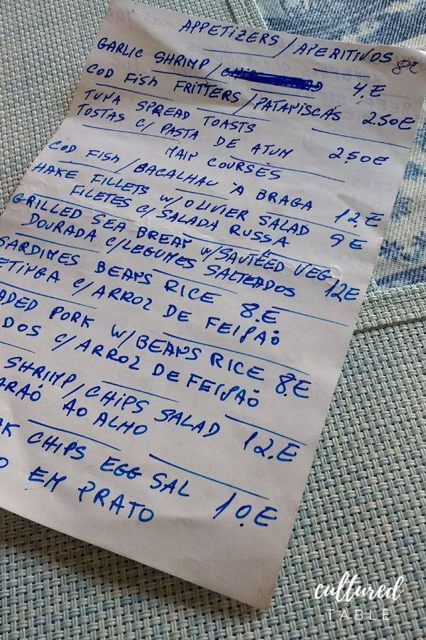 handwritten menu in Portugal