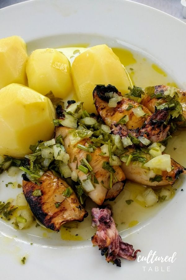 squid and boiled potatoes
