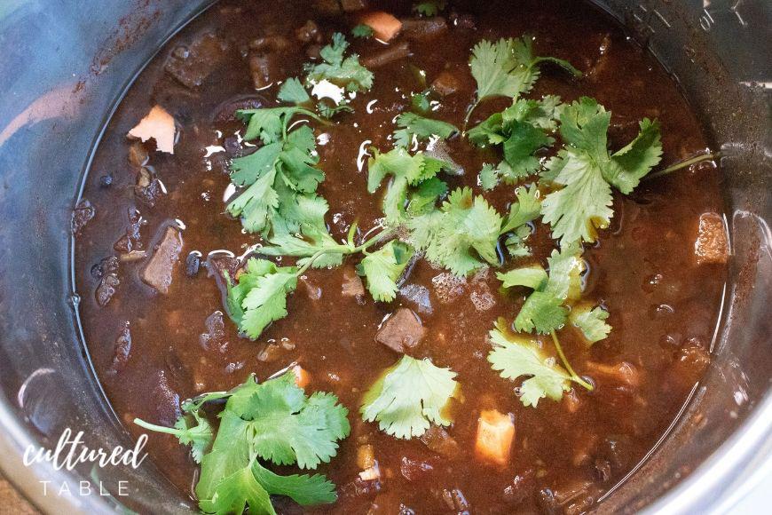 black bean chili with cilantro in instant pot