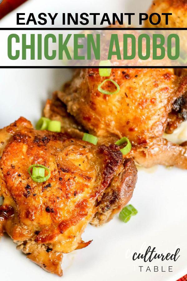 close up of adobo chicken