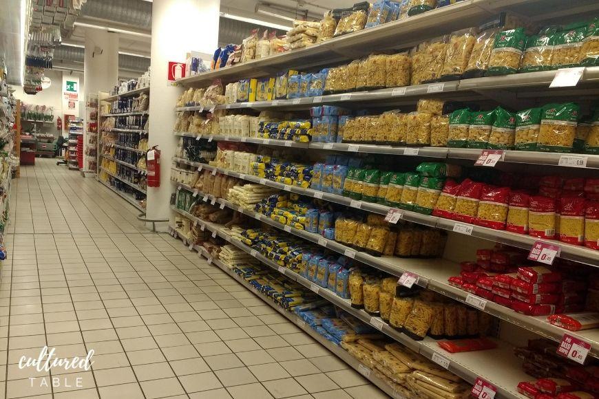 pasta aisle in italian supermarket
