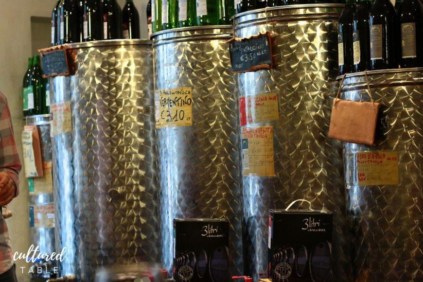 wine in big stainless steel vats