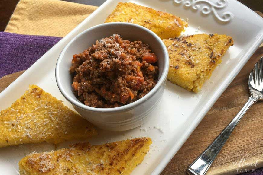 beef ragu on a white platter