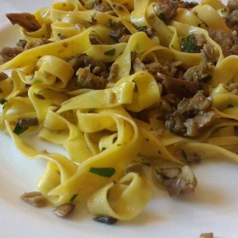 sausage and mushroom pasta on a white plate