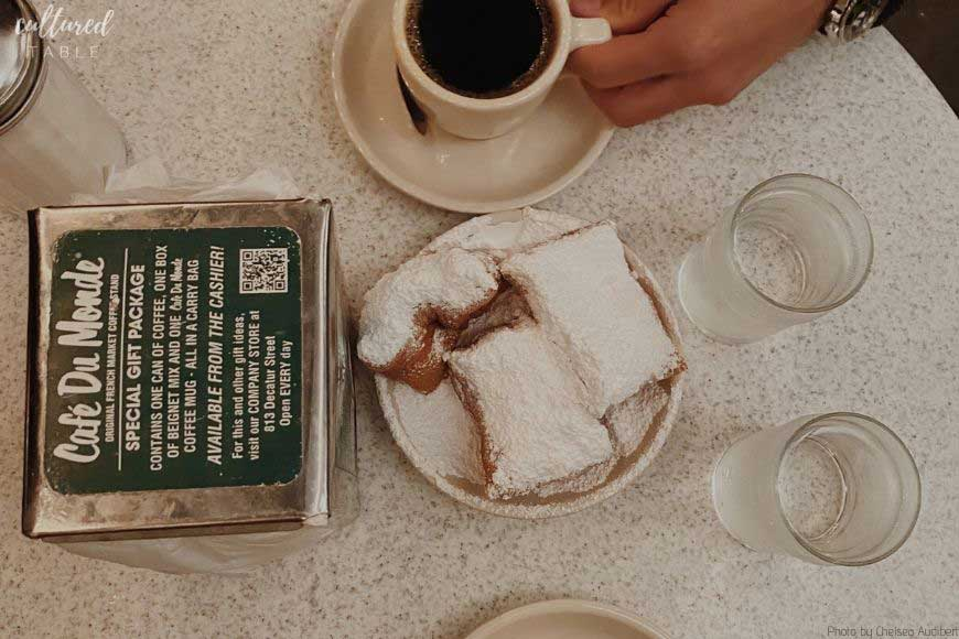 overhead shot of table at Cafe du Monde