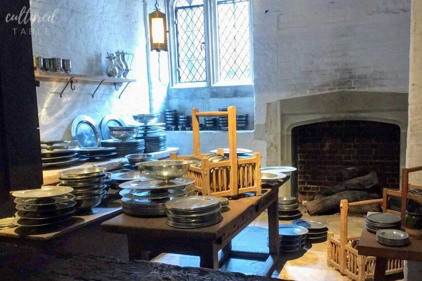 plates and serving dishes in a medieval palace