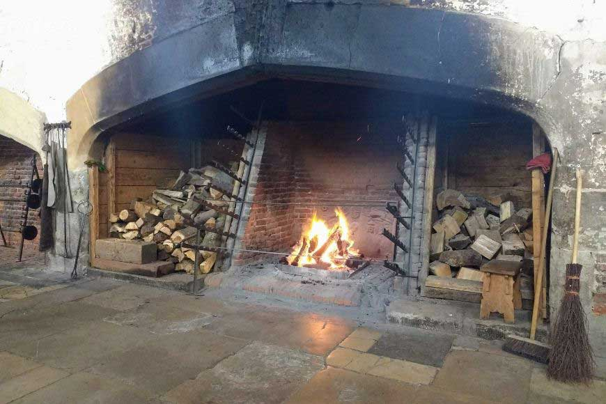 fire in kitchens at hampton court palace