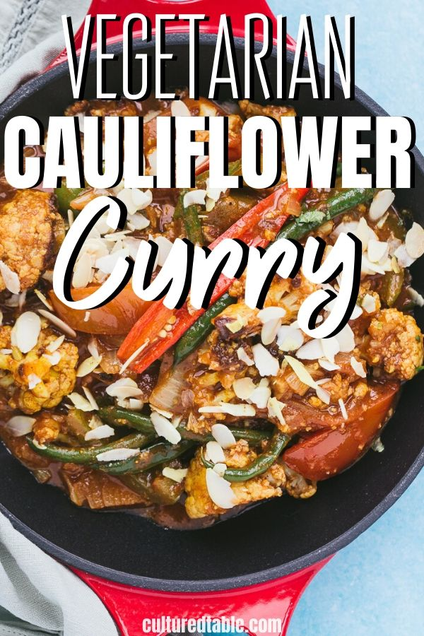 cauliflower curry in a red pan