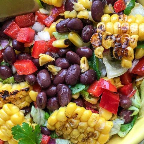Mexican chopped salad with beans and grilled corn