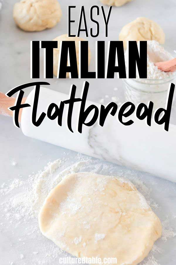italian flatbread being rolled on a countertop