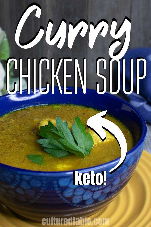 keto curry soup in a blue bowl