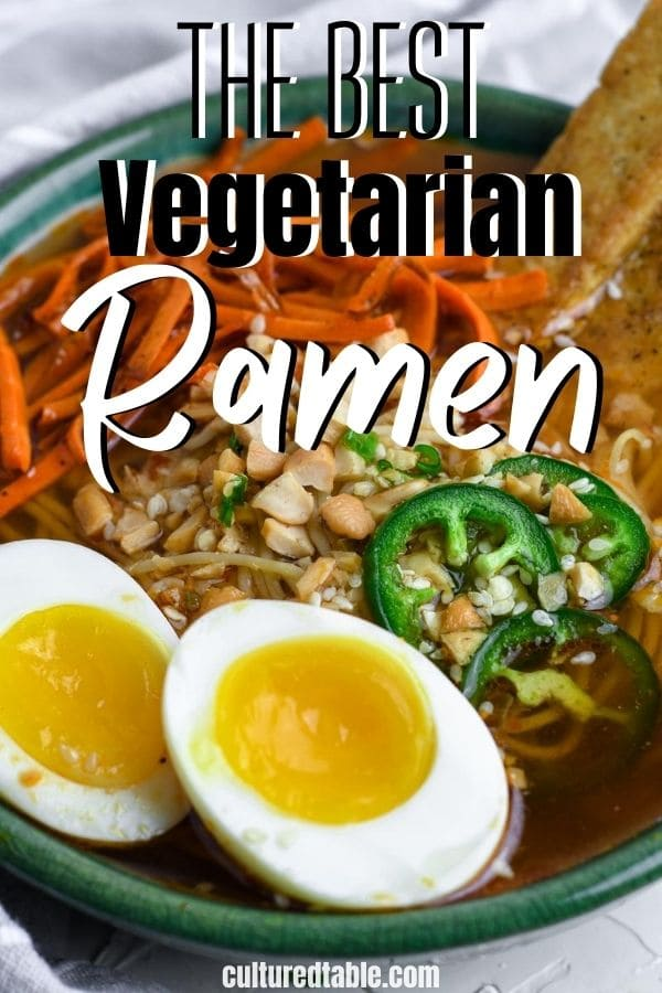 vegetarian ramen from above in a bowl with boiled eggs and carrots