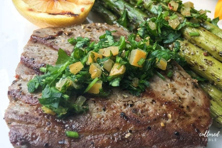 grilled tuna steak with gremolata on top