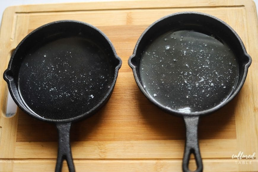 two small cast iron skillets from above