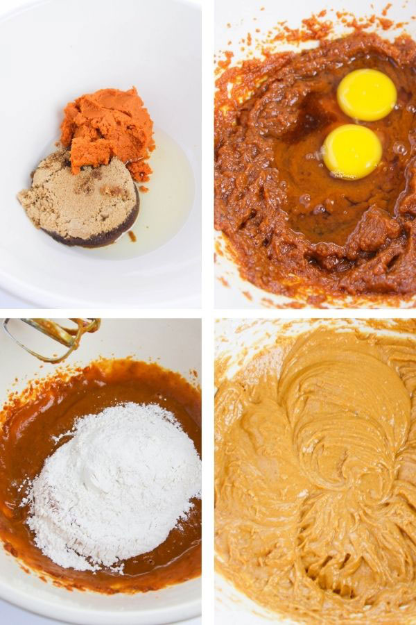 process steps to make pumpkin cupcakes: mixing the wet ingredients, adding the dry ingredients
