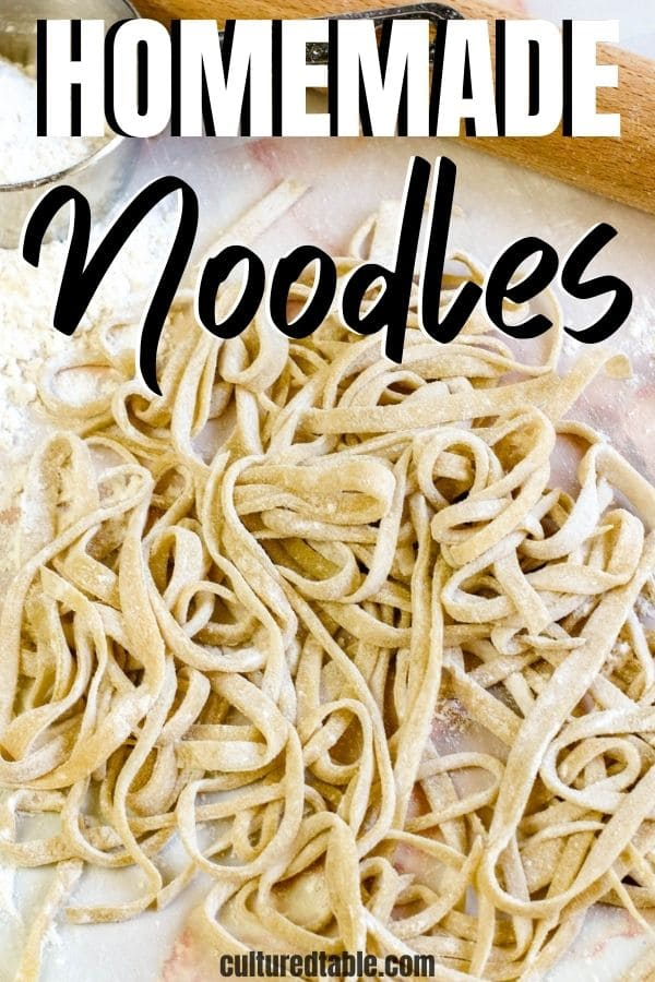 unbaked homemade noodles in a pile