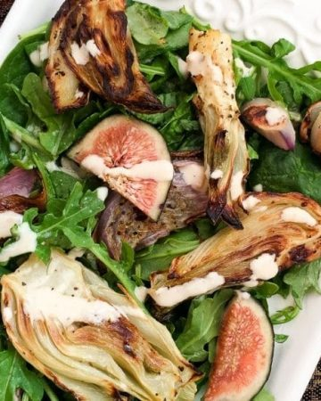 roasted fennel salad with figs and lemon tahini dressing