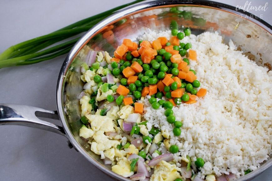 ingredients for cauliflower fried rice in a stainless steel frying pan