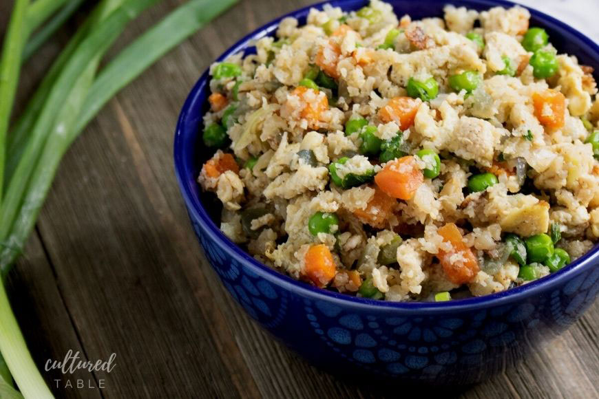 BLUE bowl with fried cauliflower rice (peas and carrots visible)