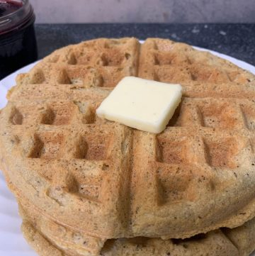 almond flour waffles with a pat of butter