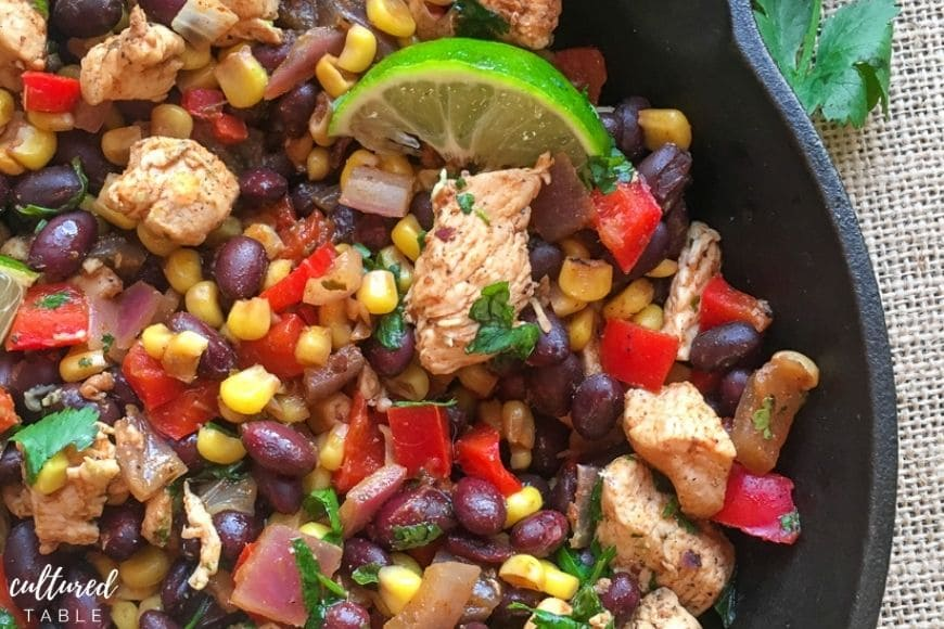 chicken burrito skillet with beans and corn