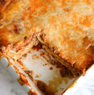 ricotta lasagna from above, showing one slice cut out