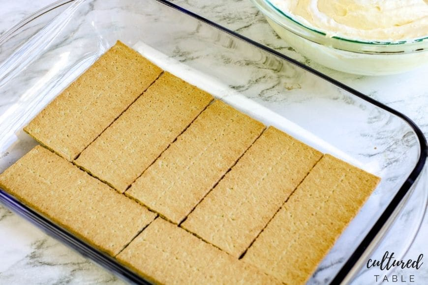 graham crackers in a glass pan