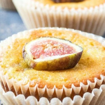 olive oil cupcake with a sliced fig on top
