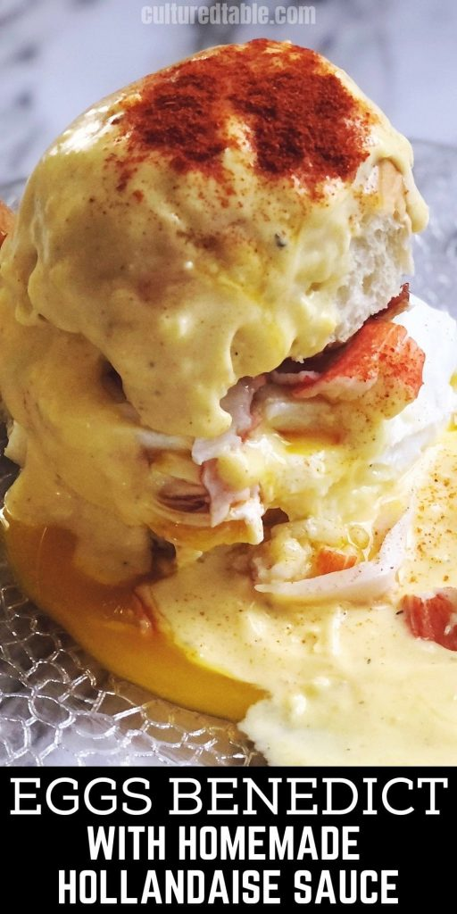 eggs benedict with hollandaise sauce and smoked paprika on top