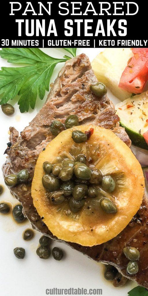 pan seared tuna steak with lemon and capers