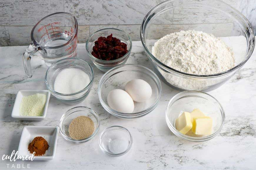 ingredients for baking bread