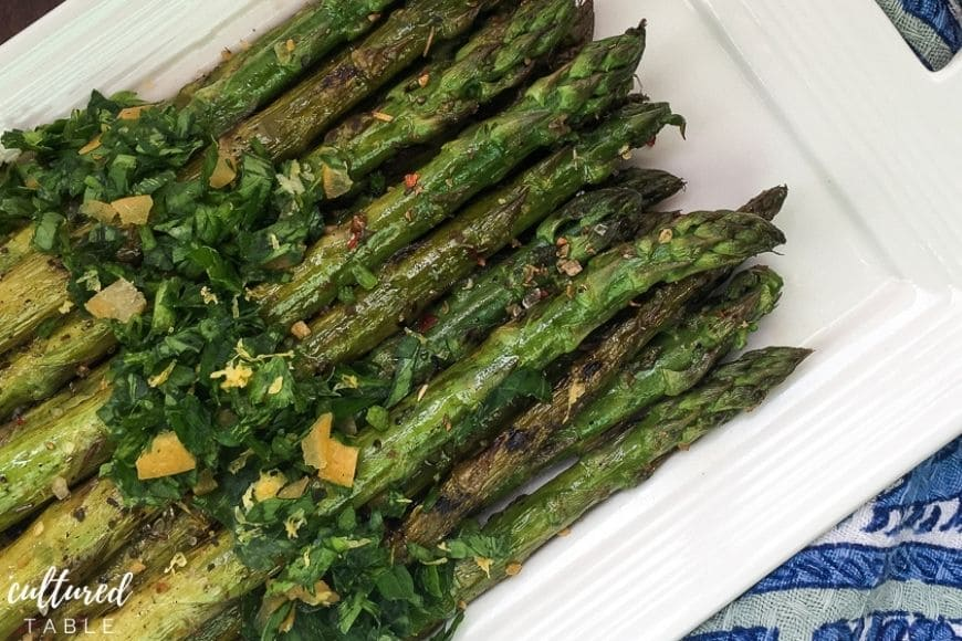 grilled asparagus with gremolata on top