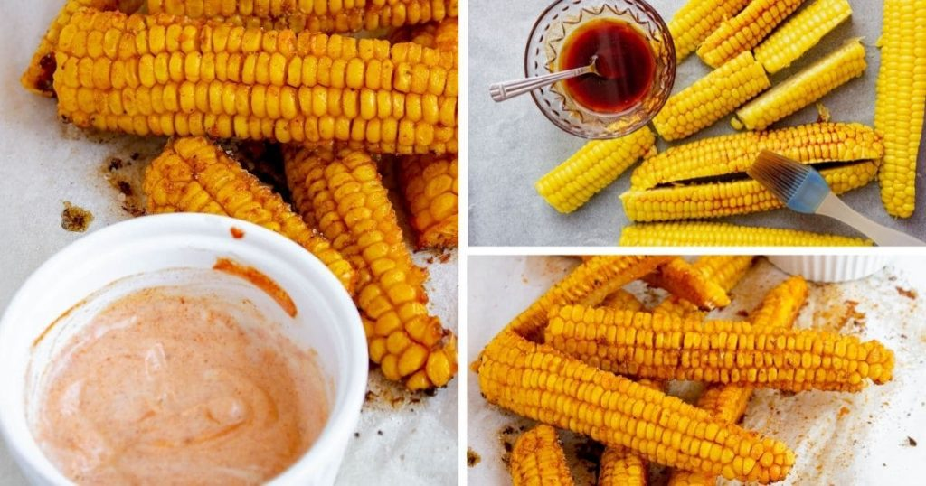 corn ribs before cooking, after cooking, and with a pink dipping sauce