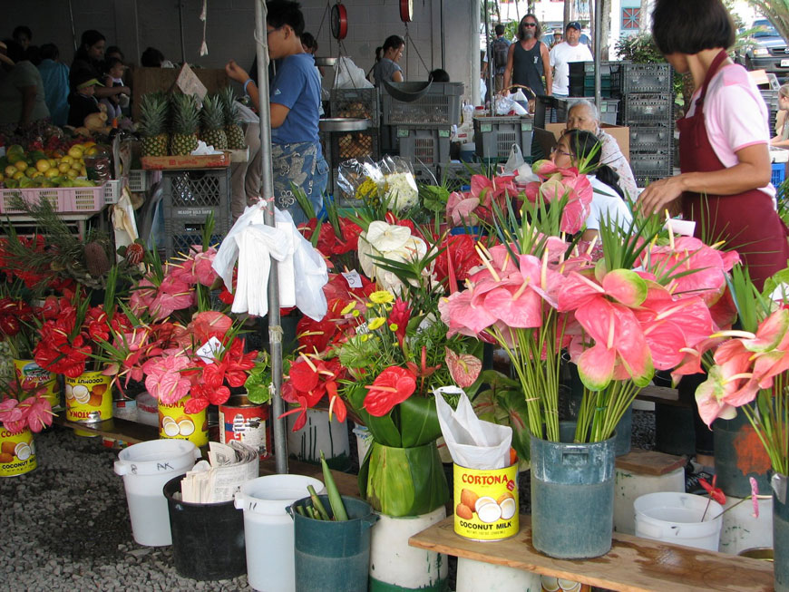 anthurium flowers for sale at a farmers market in Hawaii
