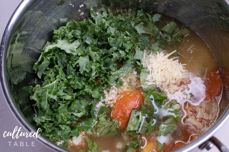 soup ingredients in a pot