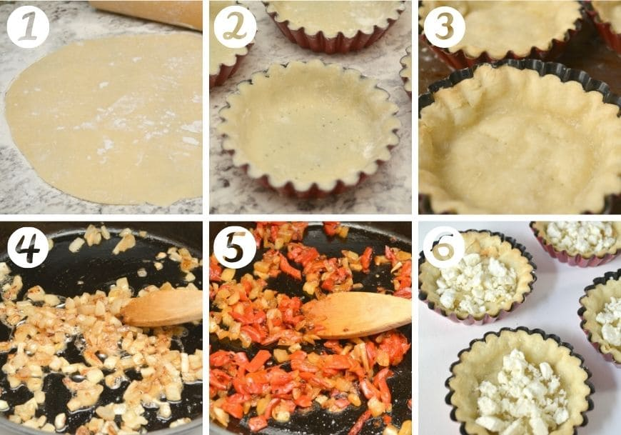 steps showing how to make tartlet recipe, from rolling and forming crust to making filling