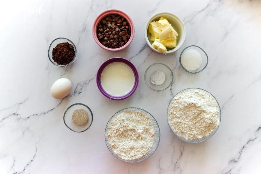 ingredients for making chocolate babka